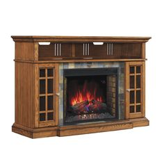 Create a warming ambiance in your home without the dangers or hassel of an open fire with this electric fireplace. This fireplace features a rich brown finish and conveniently works as a media console for versatile style.