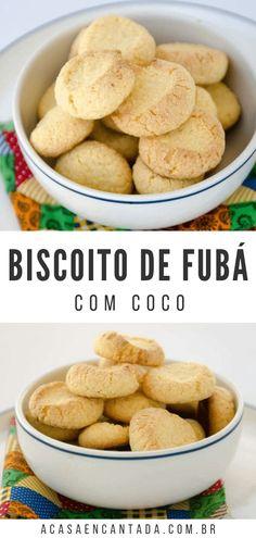 Biscoitos de Fubá com Coco para o chá da tarde. Cake Recipes, Snack Recipes, Cooking Recipes, Healthy Recipes, Snacks, Whoopie Pies, Finger Foods, Biscuits, Good Food