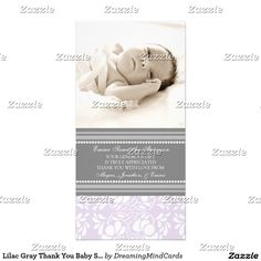 Lilac Gray Thank You Baby Shower Photo Cards.  Artwork designed by DreamingMindCards. Price $1.00 per card