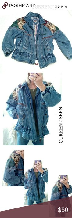 """VINTAGE CURRENT SEEN TAPESTRY DENIM JACKET VINTAGE CURRENT SEEN TAPESTRY DENIM JACKET Pre-Loved SZ M THIS IS A VERY COOL JACKET! Heavy Duty Denim with Tapestry Decorative Accents Placed in Areas to Display it's Beauty! Zip Up Front with Side Pockets Drawstring & Zip Neck Closing Elastic Waist & Wrist  to Secure Snug Fit Approx Meas;    * Chest  25""""    * Length 26""""     * Sleeve Length  17 1/2"""" I LOVE This Jacket!  Pls See Pics. Ask ? If Needed Vintage CURRENT SEEN Jackets & Coats Jean Jackets"""