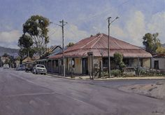 Cape Town artist John Kramer is renown for his realistic paintings depicting the disappearing small town shops, corner cafe's and general dealer stores Unique Paintings, Realistic Paintings, Red Roof House, South African Artists, Old Photography, Old Farm Houses, Watercolor Portraits, Australian Artists, Abandoned Houses