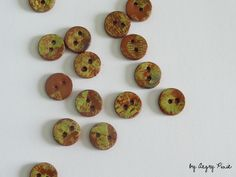 green earthenware buttons (5 buttons per set) – a unique product by AngryPixie on DaWanda