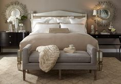 Lillian August Fine Furnishings, tufted bench. I don't think I would ever leave!