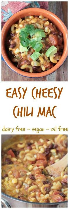 Easy Cheesy Chili Mac - vegan | dairy free | gluten free option | family | kid friendly | lunch | dinner | healthy | clean eating | pasta | beans |