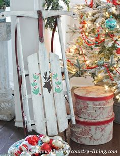 DIY Vintage and Traditonal Christmas Stencil Sled Project - Royal Design Studio stencils -  via Town and Country Living