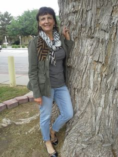 Day 5 of the Spring Challenge: 4/18/2014 Military jacket from Dress Barn, Loft skinny, zipped ankle jeans, Target scarf, black and white striped tee from Old Navy, Target leopard flats, Stella and dot earrings.
