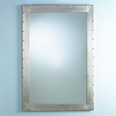 Square Metal Industrial Mirror with Rivets shades of light
