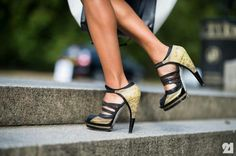 Gold and black heel