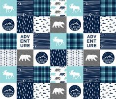 Baby Blanket Adventure Mountains Moose Bear by HanleyCrest