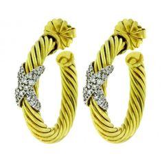 Pre-owned David Yurman 14K Yellow Gold Large Diamond X Hoop Earrings (61530 TWD) ❤ liked on Polyvore featuring jewelry, earrings, diamond jewelry, hoop earrings, david yurman earrings, 14 karat gold earrings and 14k gold jewelry