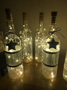 Light bottles out of recycled wine bottle