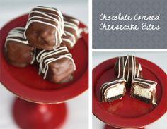Chocolate-covered cheesecake bites.