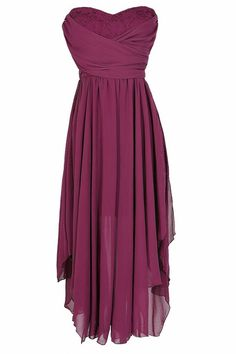 Dana Strapless Chiffon and Lace Midi Dress in Berry www.lilyboutique.com