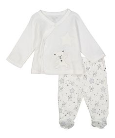 Look what I found on #zulily! White Bear & Stars Cardigan & Footie Pants…