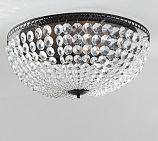 """French & Fancy Guest Bedroom Mia Faceted-Crystal Oversized Flushmount $129. 12.5"""" diameter, 7""""high."""