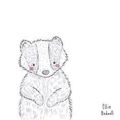 Little badger doodle Harry Potter Props, Harry Potter Printables, Badger Illustration, Baby Badger, Doodles, Snoopy, Teddy Bear, Drawings, Animals
