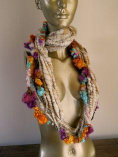 Bobbles the Art Yarn or Eternity Scarf. $70.50, via Etsy.