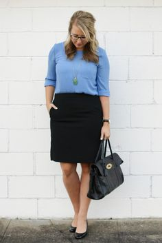 I'd love to have an outfit like this for work, but maybe navy for the skirt?- I'd love to have an outfit like this for work, but maybe navy for the skirt? I n… – Outfits for Work I'd love to have an outfit like this for work Casual Dress Outfits, Simple Outfits, Skirt Outfits, Cute Outfits, Work Outfits, Work Fashion, Fashion Outfits, Fashion Hub, Fashion Night