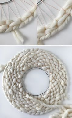 tutorial: How to weave a round wall hanging or wreath DIY - How to weave a round wall hanging. It's also a modern Christmas wreath!DIY - How to weave a round wall hanging. It's also a modern Christmas wreath! Weaving Wall Hanging, Weaving Art, Tapestry Weaving, Loom Weaving, Diy Hanging, Wall Hangings, Wool Wall Hanging, Wall Tapestry, Hand Weaving