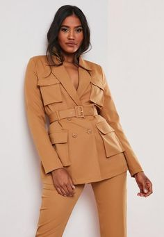 Camel Co ord Utility Pocket Blazer . Order today & shop it like it's hot at Missguided. Camel Blazer, Long Blazer, Blazers For Women, Coats For Women, Sleeveless Blazer, Long Sleeve Maxi, Tailored Jacket, Office Attire, Professional Outfits