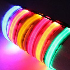 Dog Collar LED Lights / Adjustable/Retractable / Safety Solid Red / White / Green / Blue / Pink / Yellow / Orange Nylon - EUR € 2.93