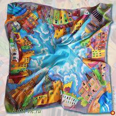 """Платок-батик """"Шелковый город"""" - батик, авторские шарфы и платки. МегаГрад - мега-портал авторской ручной работы"""