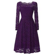 ZAFUL Elegant Lace Crochet Flower Vintage Women Summer Dress Plus Size S~2XL Feminino Party Vestidos de festa 4Solid Color Dress
