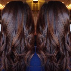 Brunette balayage chocolate red hair style done by . Loose curls perfect for date night Brunette Hair Color, Cinnamon Brown Hair Color, Reddish Brown Hair Color, Brown Hair Colors, Rich Brown Hair, Dark Auburn Hair Color, Fall Hair Color For Brunettes, Chestnut Brown Hair, Cinnamon Hair, Hair Colours