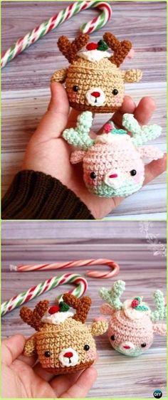Crochet Christmas Deer Cupcake Ornaments