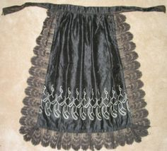 embroidered silk apron with black lace