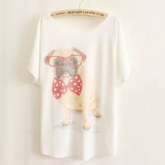 """Animal Print Tee New~Cute Dog Animal Print Tee New~Cute Dog Style- Loose Batwing Sleeve Length 25.98"""" Bust: 43""""-47"""" Soft and Comfy Fit~Fabric: 65%Cotton, 35%Polyester Smoke FREE Home No Tradefirm unless bundled Cute Tops Tees - Short Sleeve"""
