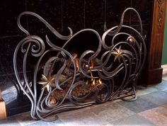 free form / art nouveau fireplace guard by Ban Koval-made metal products and metal decor, 1200 UAH