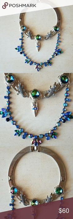 Collar statement necklace Gold toned with 2 alligators and 3 pretty iridescent blue rhinestones on collar part of necklace. Beautiful blue rhinestones hang from collar. Bought from Asos. Worn only once. Asos Jewelry Necklaces