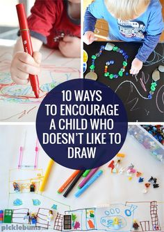 Do you have a non-drawer? Here are ten ways to encourage a child who doesn't like drawing, and loads of ideas to try. Learning Activities, Preschool Activities, Children Activities, Summer Activities, Art For Kids, Crafts For Kids, Preschool Art, Teaching Art, Teaching Tips