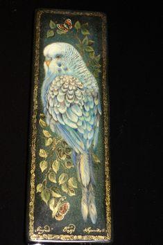 Blue Parakeet Budgie Budgerigar Bird Parrot Russian Lacquer Box Kholui | eBay