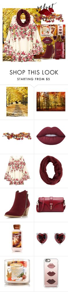 """""""velvet fall"""" by abyxoxo ❤ liked on Polyvore featuring Nearly Natural, Lime Crime, Dorothy Perkins, Casetify, velvet, summertofall, fallfashion, falloutfit and velvetfashion"""
