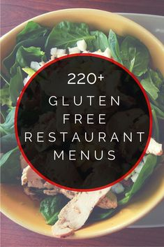 Looking for the best restaurant chain that has delicious gluten free food? In this listing, you'll discover hundreds of gluten free restaurant menus you'll truly love. From burgers and pizza to coffee and ice cream, there are hundreds of amazing options! Menu Sans Gluten, Dessert Sans Gluten, Gluten Free Menu, Gluten Free Desserts, Gluten Free Recipes, Dairy Free, Gf Recipes, Dessert Recipes, Dinner Recipes