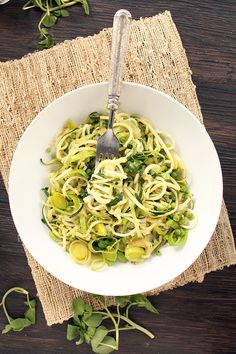Spring Zucchini Pasta with Peas, Leeks & Watercress