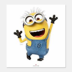Despicable Me Minion Tom Excited Sticker ,