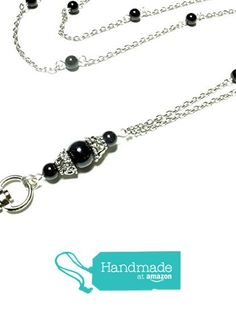 Women's Fashion Lanyard for ID Badge or Keys- Functional Necklace features Black Swarovski Pearls and Silver Chain with Magnetic Breakaway Clasp from Brenda Elaine Jewelry https://www.amazon.com/dp/B01NCRC6TR/ref=hnd_sw_r_pi_dp_AsfcAb1VCN26G #handmadeatamazon