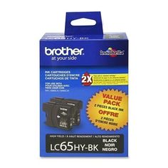 2 PACK GENUINE BROTHER BLACK Ink CARTRIDGE LC65HY-BK LC65 HYBK~TWIN LOT012502621 #Brother