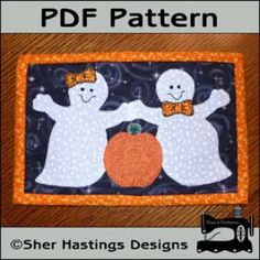 Ghostly Friends Mug Rug - Halloween Mini Quilt | YouCanMakeThis.com