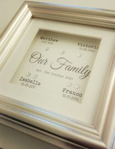 'Family' Personalised Frame - Available to buy at www.sophisticated-occasions.co.uk