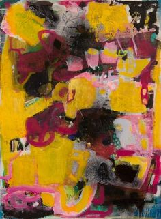 Pink/Yellow -- pink, yellow, black, fuchsia painting on paper. Acrylic, flashe, markers, ink and spray paint on paper. Intense color series.