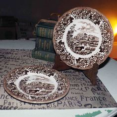 Vintage J&G Meakin Romantic England brown transferware bread-and-butter, side, or dessert plate. Side Plates, Magnifying Glass, China Patterns, 1960s, Vintage Items, Decorative Plates, England, Pottery, Romantic