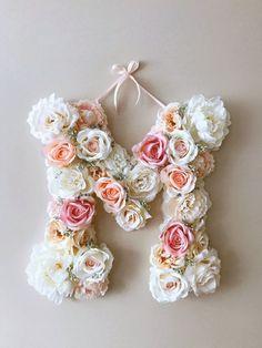 Wall decor vintage Flower Letters 18'' Floral by PaulettaStore