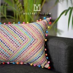 Stitched work, colorful cushion cover