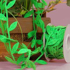 Emerald Felt Leaf Twig Cord Ribbon Leaves by MrsSupply on Etsy, $0.79