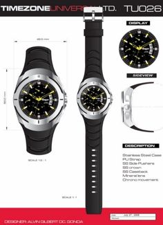Time Zone Universal  LTD. Watches  designed by: Alvin Gilbert Dc. Gonda  abugonda@yahoo.com Design Development, Industrial Design, Behance, Product Description, Graphic Design, Watches, Concept, Industrial By Design, Wristwatches