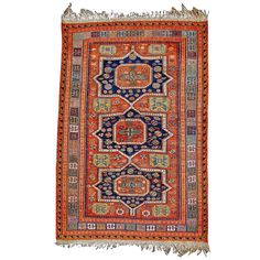 19th Century Caucasian Soumac | From a unique collection of antique and modern caucasian rugs at https://www.1stdibs.com/furniture/rugs-carpets/caucasian-rugs/
